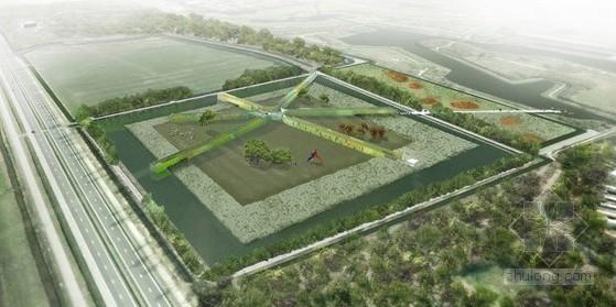 绿篱迷宫手绘平面图
