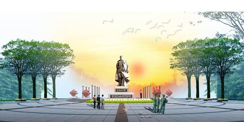 广场雕塑效果图手绘